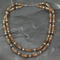 Pearl and unakite strand necklace, 'Indian Autumn' - Pearl and unakite strand necklace