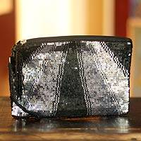 Beaded wristlet handbag, 'Rajouri Night' - Beaded Evening Bag from India