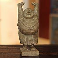 Soapstone sculpture, 'Laughing Buddha' - Handmade Natural Soapstone Sculpture