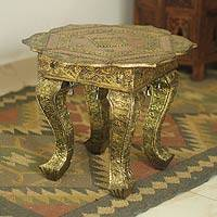 Brass accent table, 'Golden Lotus' - Handmade Wood Brass Accent Table Fair Trade