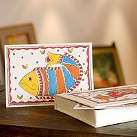 Madhubani greeting cards, 'Fish of India' (set of 8) - Madhubani Greeting Cards Boxed Handpainted (Set of 8)