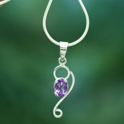 Amethyst pendant necklace, 'Spiritual Love' - Amethyst Jewelry Necklace with Sterling Silver