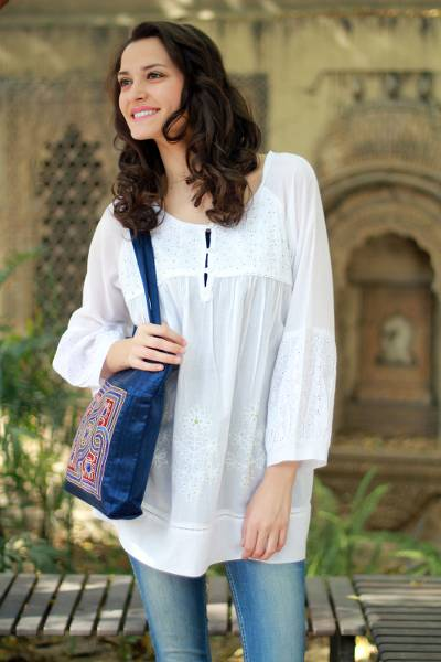 11312b13d5f Cotton blouse, 'Romantic White' - Hand Made Indian Floral Cotton  Embroidered Tunic Top
