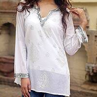 Beaded cotton tunic, 'Paisley Whisper' - Sheer White Beaded Cotton Blouse with Sequins India