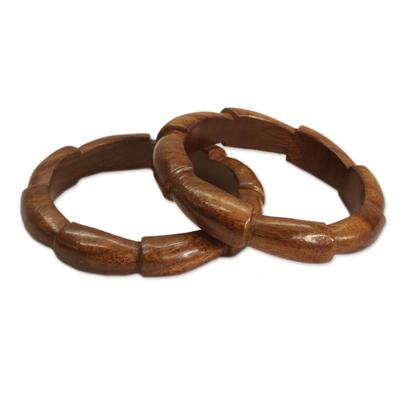 Handmade Wood Bangle Bracelets (Pair)