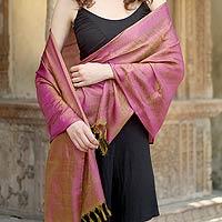 Banarasi silk shawl, 'Lilac Morn' - Banarasi silk shawl
