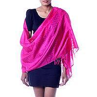 Banarasi silk shawl, 'Fuchsia Dawn' - Artisan Crafted Indian Jacquard Loom Banarasi Silk Shawl