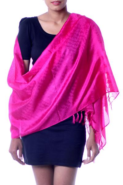 Banarasi silk shawl, 'Fuchsia Dawn' - Banarasi silk shawl