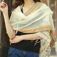 Cotton and silk shawl, 'Maheshwari Princess' - Cotton Silk Blend Shawl India Wrap
