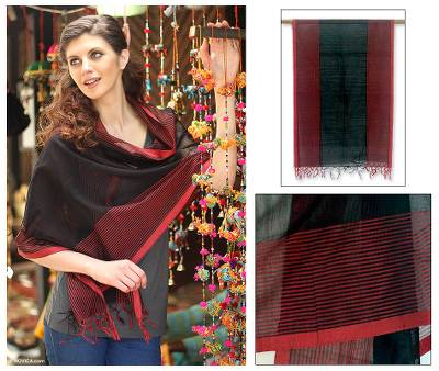 Cotton and silk shawl, 'Madhya Pradesh Night' - India Wrap Hand Loomed Cotton Silk Blend Shawl