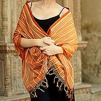 Cotton and silk shawl, 'India Sunset' - Cotton and silk shawl