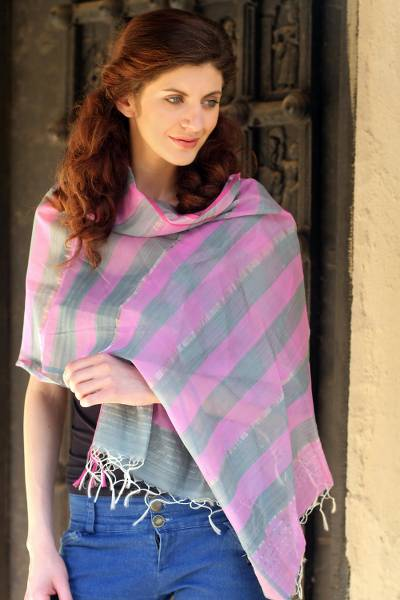 Cotton and silk shawl, 'Kerala Rose' - Cotton and silk shawl