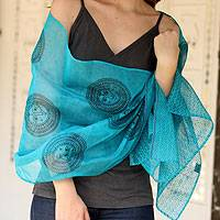 Cotton and silk shawl, 'India Sun' - Cotton and silk shawl