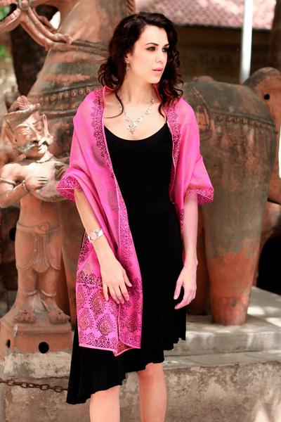 Cotton and silk shawl, 'Festive Diwali' - Hand Loomed Wrap Floral Silk Cotton Shawl