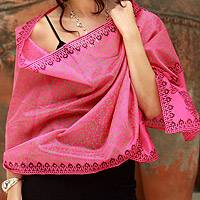 Cotton and silk shawl, 'Festive Durga Puja'