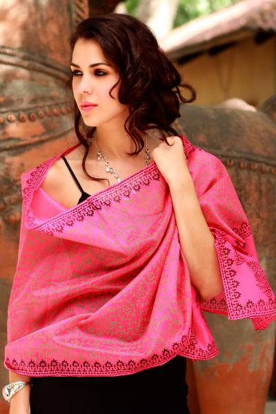 Cotton and silk shawl, 'Festive Durga Puja' - Women's Floral Cotton Silk Blend Patterned Shawl