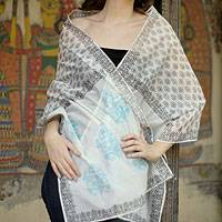 Cotton and silk shawl, 'Myriad Bouquets' - Cotton and silk shawl