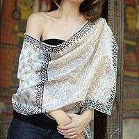 Cotton and silk shawl, 'Myriad Vines' - Floral Silk Blend Cotton Patterned Shawl