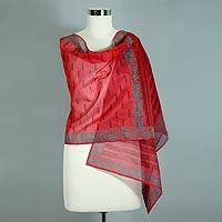Cotton and silk shawl, 'Blossoming Fire' - Red Silk and Cotton Shawl Embellished With Ferns