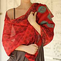 Cotton and silk shawl, 'Blossoming Flowers' - Shawl Red Cotton Silk Block Print Wrap