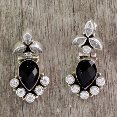 Onyx and quartz dangle earrings, 'Midnight Dewdrops' - Onyx and Quartz Drop Earrings