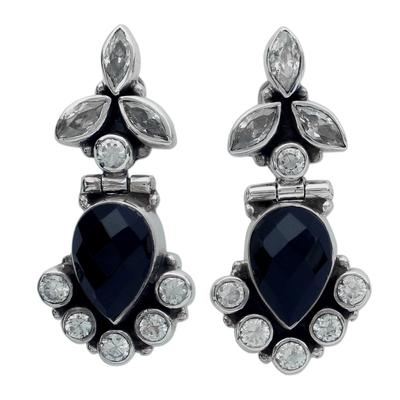 Onyx and Quartz Drop Earrings
