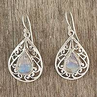 Moonstone dangle earrings, 'Rainbow Teardrops'
