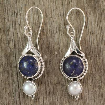 Pearl and lapis lazuli dangle earrings, 'Haryana Harmony' - Fair Trade Sterling Silver Pearl and Lapis Lazuli Earrings