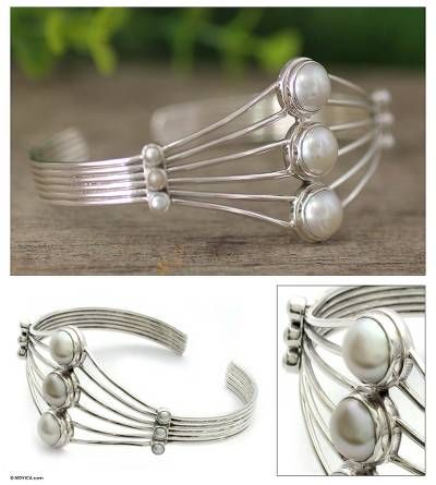 Pearl cuff bracelet, 'Promise by Moonlight' - Sterling Silver and Pearl Cuff Bracelet