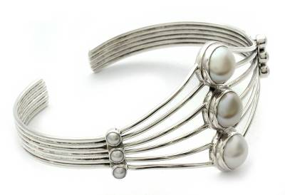 Sterling Silver and Pearl Cuff Bracelet