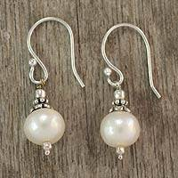 Pearl dangle earrings, 'Mumbai Moonlight' - Pearl dangle earrings