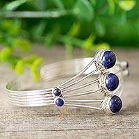 Lapis lazuli cuff bracelet, 'Promise by Night' - Lapis Lazuli Cuff Bracelet from India Silver Jewelry
