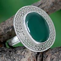 Sterling silver cocktail ring, 'Orissa Forest' - India Jewelry Sterling Silver with Green Onyx Ring