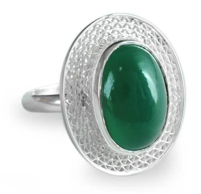 India Jewelry Sterling Silver with Green Onyx Ring