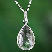 Prasiolite pendant necklace, 'Green Mystique' - Handmade Indian Sterling Silver and Prasiolite Necklace