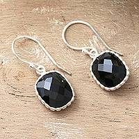 Onyx dangle earrings, 'Delhi Darkness' - Artisan Crafted Earrings Sterling Silver and Onyx