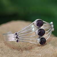Amethyst cuff bracelet, 'Promise at Dawn' - Sterling Silver and Amethyst Cuff Bracelet