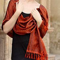 Banarasi silk shawl, 'Orange Noon' - Banarasi silk shawl