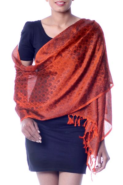 Banarasi silk shawl, 'Orange Noon' - Banarasi silk shawl