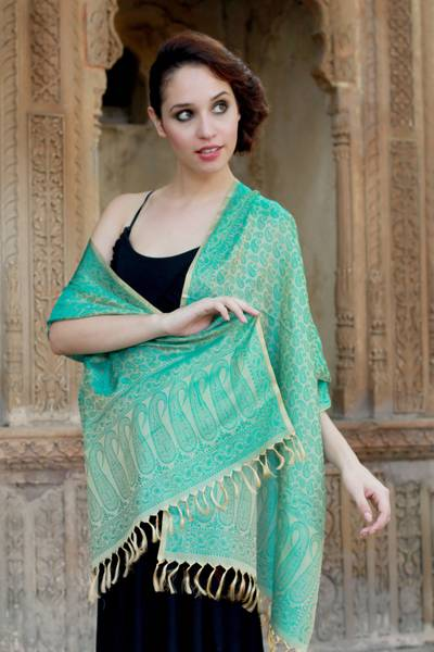 Banarasi silk shawl, 'Aqua Twilight' - Fair Trade Floral Varanasi Silk Shawl
