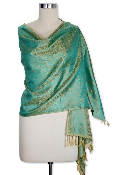 Banarasi silk shawl, 'Aqua Twilight' - Fair Trade Floral Varanasi Silk Shawl