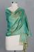 Banarasi silk shawl, 'Aqua Twilight' - Fair Trade Floral Varanasi Silk Shawl (image 2b) thumbail