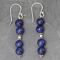 Lapis lazuli dangle earrings, 'Pillars of Love'