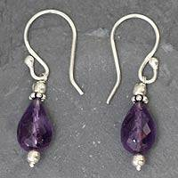 Amethyst dangle earrings, 'Jagannath Mystique' - Hand Made Amethyst Earrings