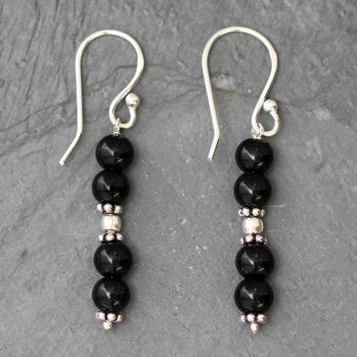Onyx dangle earrings, 'Pillars of Night' - Onyx dangle earrings