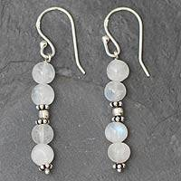 Moonstone dangle earrings, 'Pillars of Impassioned Love'