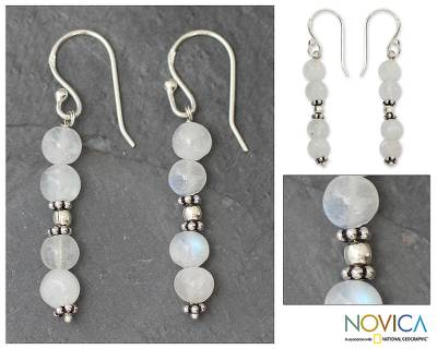 Moonstone dangle earrings, 'Pillars of Impassioned Love' - Moonstone dangle earrings