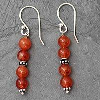 Carnelian dangle earrings, 'Pillars of Energy' - Carnelian dangle earrings