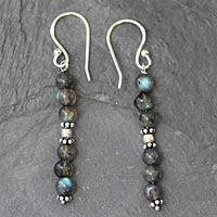 Labradorite dangle earrings, 'Pillars of Intuition' - Sterling Silver and Labradorite Bead Dangle Earrings