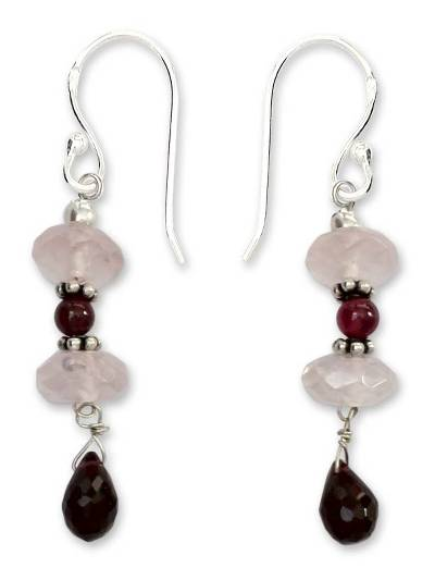 Garnet and rose quartz dangle earrings